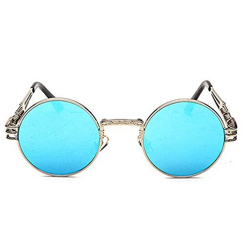 HYH Persönlichkeit Vintage Steampunk UV400 Sonnenbrille Runder Rahmen Trend Silberrahmen Blaue Linse Damen Sonnenbrille Herren Reise Selfie Schönes Leben