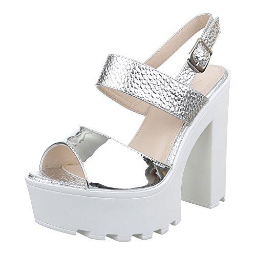 Damen Schuhe, F69, SANDALETTEN, HIGH HEELS PUMPS, Synthetik in hochwertiger Lederoptik und Lacklederoptik, Silber, Gr 39