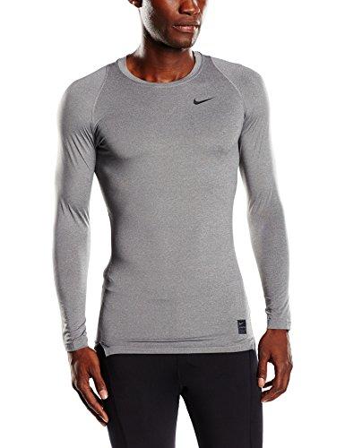Nike Cool Comp Ls,  Maglietta di compressione a maniche lunghe Uomo, Grigio (Carbon Heather/Black/Black), XL