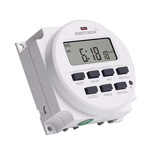 elegantstunning 12V / 24V / 110V / 220V AC/DC Digitaler intelligenter Stromtasterschalter Programmierbare Relaissteuerung Timer 110V AC English (110-volt-timer)