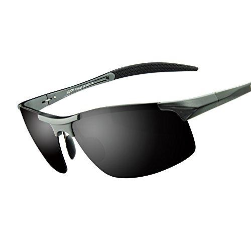 Duco Gafas de sol deportivas polarizadas para hombre con ultraligero y marco de metal irrompible, 100% UV400 - 8177S (Marco gunmetal lente gris)