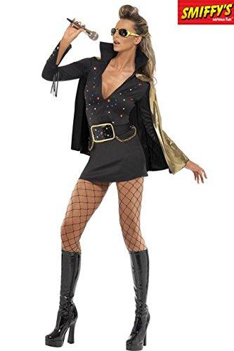 Unbekannt Elvis Damenkostüm schwarz-Gold ()