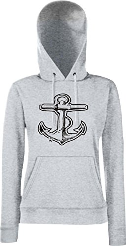 Crocodile marin sweat-shirt à capuche pour femme motif ancre de bateau de référence Gris - Gris acier