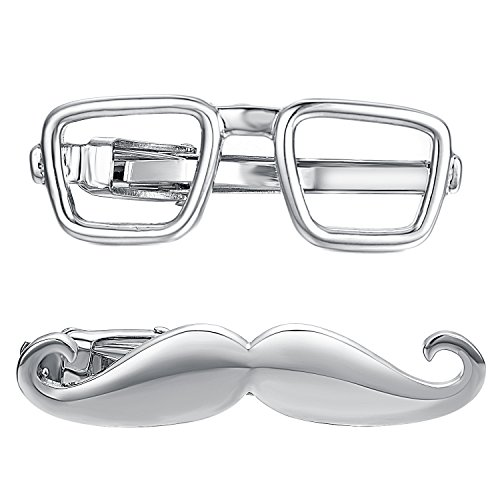 Yoursfs Schnurrbart Krawattenklammer Brille Krawattenklammer-Set für Männer lustig Riegelstab Spange kommerzielle Krawatte Clips Pin