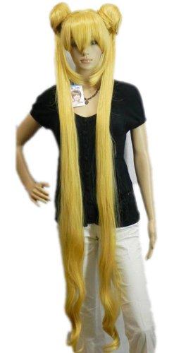 Sailor Mädchen Kostüm - QIYUN.Z Haarteile Damen Perücken Ziemlich Soldat Sailor Moon Hitzebeständige Faser Synthetische Pferdeschwänze Gelb Mädchen Anime Cosplay Kostüm Perücke