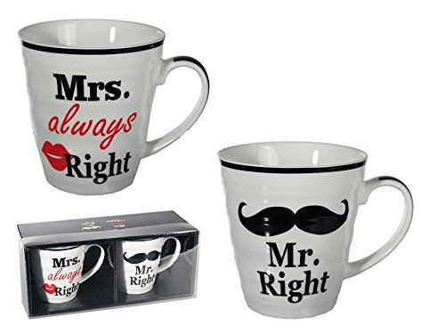 *Das 2er Set Mr. Right und Mrs. always Right Kaffeebecher in Geschenkverpackung*