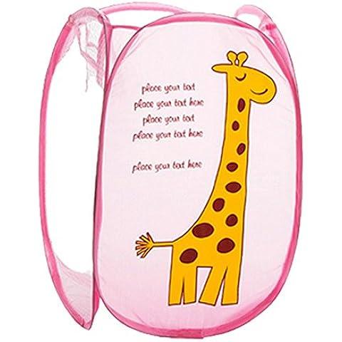 hangnuo–Cesto portabiancheria pieghevole nylon vestiti, giocattoli Cesto pop-up Casa Organizer Bins Pink (Bambini Bin Organizer)