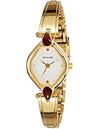 Sonata Analog White Dial Women's Watch-NK8063YM05