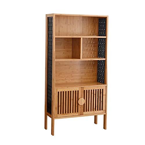 Estantes multiusos XUERUI Estanteria Vintage, Estantes Almacenamiento Marco Bambú, SencillaDecoración para Hogar Estantes (Color : Color de la Madera, Tamaño : 69.5x30x139.5cm)