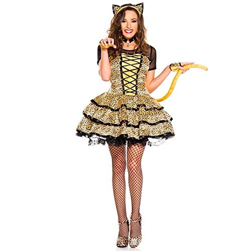 Shisky Cosplay kostüm Damen, Leopard Print Kätzchen Kostüm Halloween Katze Kostüm Make-up Thema Party Kostüm