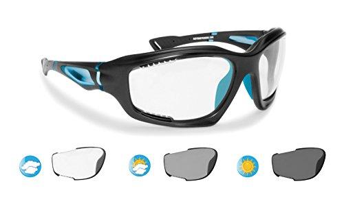 Occhiali Fotocromatici Sportivi Antivento Avvolgenti prodotti in TPX antiurto per Ciclismo MTB Running Moto Sport Acquatici KiteSurf - F1000D Lente Cat. 0-3 (nero opaco/street azure)