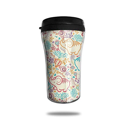 OUYouDeFangA - Taza de café con diseño de Elefantes Coloridos y Globos Florales, Taza de café con impresión 3D portátil, Taza de té aislada para Beber con Tapa, 250 ml