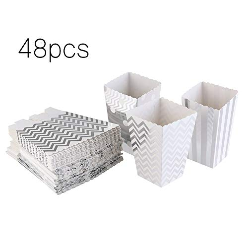 knowing 48 Stück Popcorn Boxen Popcorn Tüten Pappe Popcorn Schachtel für Party Candy Container behandeln Kartons Snacks Süßigkeiten Erdnüsse (Silber) (2)