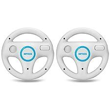 MPTECK @ 2x Volant De Course Roue Volant Wii wheel Pour Nintendo Wii Jeu Mario Kart Commande Contrôle RACING CONSOLE