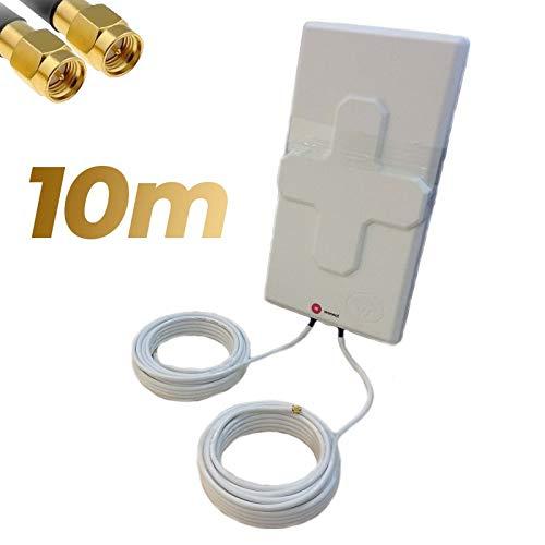 Antena 4G Wonect 50dBi Blanca Exterior 10 Metros Cable