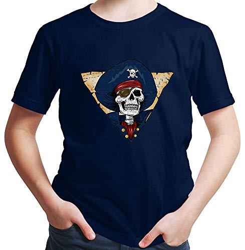 Kostüm Plus Sensenmann - HARIZ  Jungen T-Shirt Pirat Skelett Schatzkiste Halloween Kostüm Horror Karneval Plus Geschenkkarten Deep Navy Blau 104/3-4 Jahre