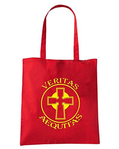 T-Shirtshock - Borsa Shopping FUN0843 boondock saints veritas aequitas vinyl decal sticker 03688 Rosso