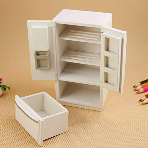 Faironly Kids Mini-Kühlschrank-Spielzeug, aus Holz, mit 2 Türen, Maßstab 1:12, Weiß (Kid Kühlschrank Spielzeug)