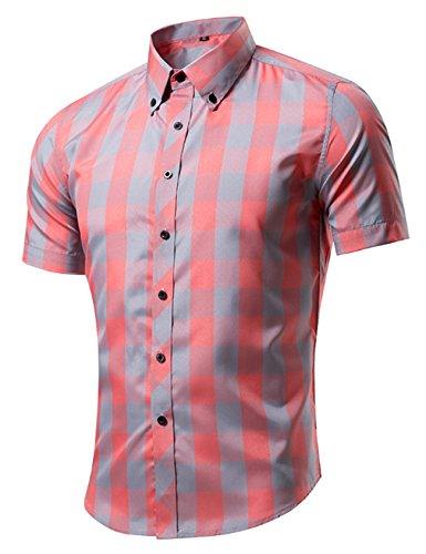 Bestgift Herren Kariert Kurzarm Hemd Freizeit Regular Fit Figurbetont Casual Freizeithemd Orange Rosa XXXL (Herren-rosa Karierte Hemd)