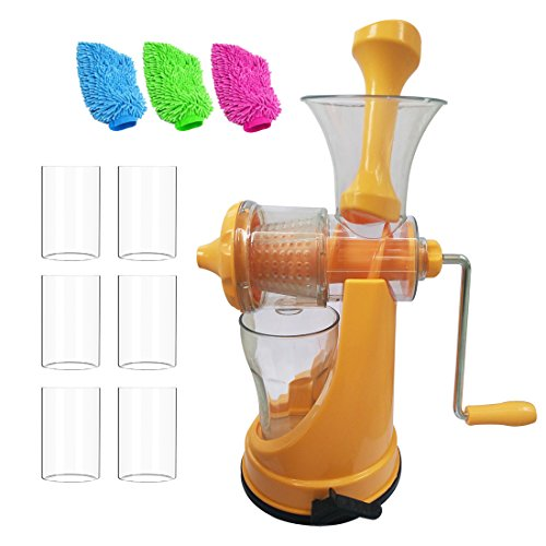 Combo of Fruit Manual Juicer with Unbreakable 6pcs Glass, 3 Mitt Glove