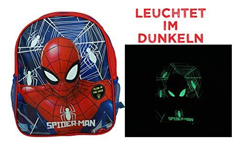 hi-lo Spider-Man Rucksack 32 x 27 x 10cm, nachtleuchtendes Motiv, Kinderrucksack, Kindergarten, Vorschule