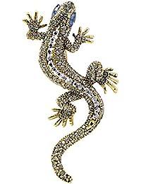 72a9ddab05b4 WSIOANJ Broches para Ropa Mujer Gecko Lagarto Broche Pin Mujeres Y Hombres  Broches Rhinestone Vintage Animal
