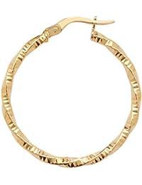 Pendientes de aro de oro de 9ct corte de diamante