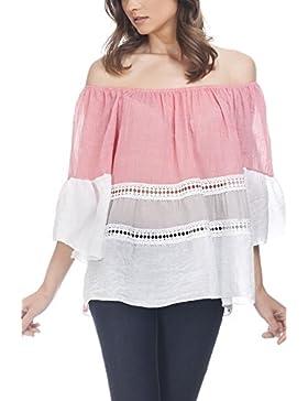 Beyove Mujer Camisa Blusa de Moda Casual T-Shirt Tops V Cuello Floral Nueva
