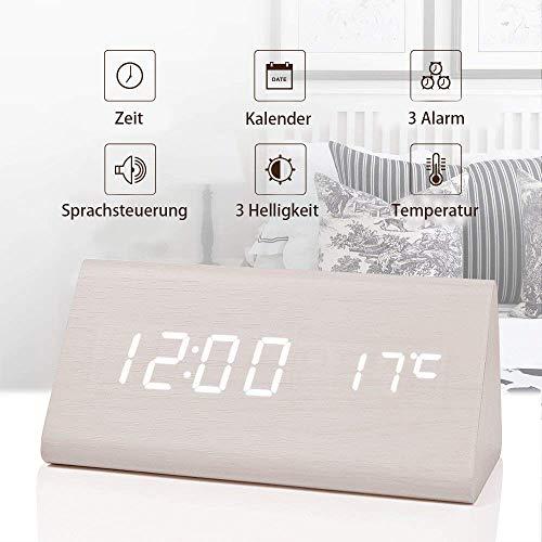 fomobest LED Wecker Digital Wecker Wiederaufladbar Holz Tischuhr Datum/Temperatur Anzeige Weiß