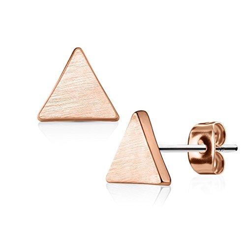 beyoutifulthings Damen 1 Paar Ohringe Ohrringe Set Stecker Edelstahl Chirurgenstahl Dreieck gebürstet roségold