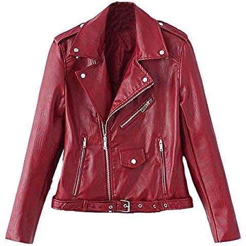 SaiDeng Mujer Chaqueta Moto Delgado Ajuste Zip Pu Cuero Biker Jacket Vino Rojo L