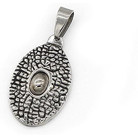 iconic monili dell'acciaio inossidabile collana pendente nero uomo Retro occhio d'argento -con Catena 23