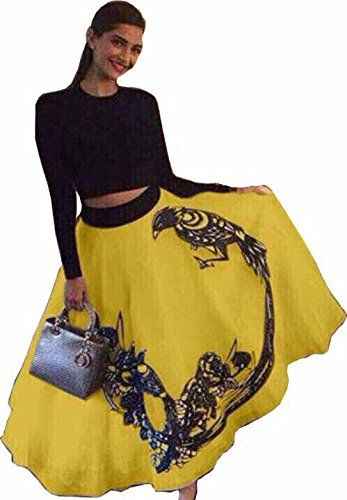 Vastra Fashion Women's Georgette 60 grams Digital Print Semi-Stitched Yellow Color Lehenga...