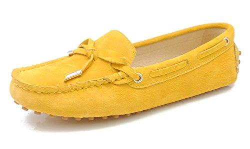 MINITOO Mädchen Damen Casual Bequeme Wildleder Knoten Schlupfschuhe Bootsschuhe Flats, Gelb - gelb - Größe: 39.5