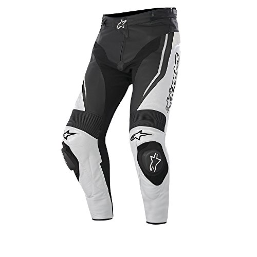 Alpinestars Track Leather Motorcycle Trousers Black/White EU 46
