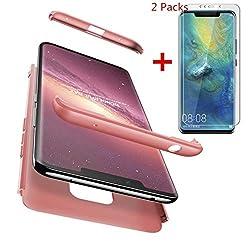 AILZH Huawei Mate 20 Pro Hülle+2*Nano Soft HD Displayschutzfolie 360 Grad HandyHülle PC Hartschale Anti-Schock Schutzhülle Anti-Kratz Stoßfänger Bumper Cover Case matt Schutzkasten Rosen(Rosa)