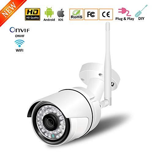 Space element Drahtlose CCTV-IP-Kamera, 1080P HD-WiFi-Überwachungskamera für Heimsicherheit mit 2-Wege-Audio, 98-Fuß-IR-Nachtsichtgerät, IP66-Schutzart wasserdicht, Bewegungserkennung Dvr-server