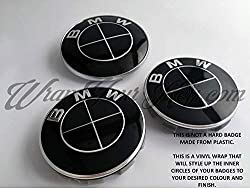 FULL BLACK GLOSS COMPLETE Badge Emblem Vinyl Overlay Sticker SuperWrappz Wrap FOR BMW HOOD TRUNK RIMS WHEELS FITS ALL BMW Series 1, 2, 3, 4, 5, 6, 7, X1, X2, X3, X4, X5, X6, Z1, Z3, Z4, Z8, M SPORT