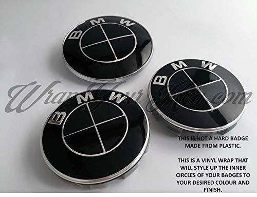 Komplett Schwarz Glänzend Abzeichen Emblem Vinyl Überzug Aufkleber Superwrappz Bezüge für BMW Haube Koffer Felgen Räder für Alle Serie 1,2,3,4,5,6,7,X1,X2,X3,X4,X5,X6,Z1,Z3,Z4,Z8,M Sport, (Bmw 3 Serie Felgen)