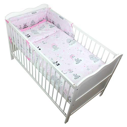 TupTam Baby Bettwäsche mit Nestchen Bettset Gemustert 3-TLG, Farbe: Baby Tiere Grau/Rosa, Anzahl der Teile:: 3 TLG. Set