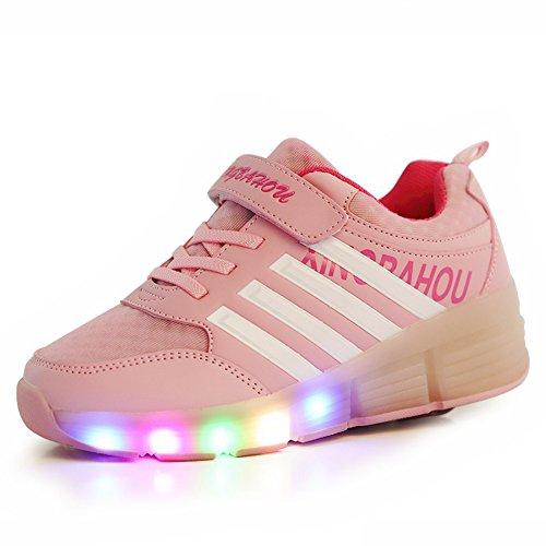 Aimee Schuhe mit Rollen Kinder Skateboard Schuhe Rollschuh Schuhe LED Light Wheels Sneakers Outdoor-Trainer für Junge Mädchen(EU 34--Schuhe Innenlange 22.0cm,Pink)