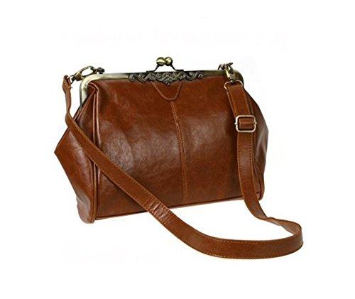 LIFECART Vintage-Stil PU Leder Umhängetasche Handtasche für Damen - braun (Schulter Stil Handtasche)