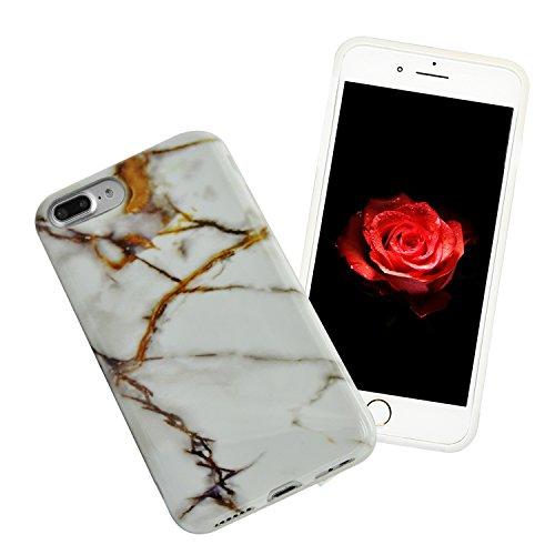 iPhone 8 Plus Hülle, iPhone 8 Plus Marmor Handyhülle, iPhone 8 Plus Marble Hülle, Sunroyal Marmor Serie Flexible TPU Silikon Schutz Handy Hülle Handytasche HandyHülle Schale Case Cover Schutzhülle für Farbe 34