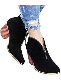 Longra ☂☂ ☂☂❤️❤️ Zapatos de Punta de Cremallera con diseño único, Botines Martin Leopard de Tobillo Macizo