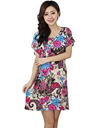 JTC Ladies Flower Printed Cotton Round Neck Summer Short Nightdress Mixed  Color c69813a4e