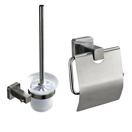 7. OBEEONR Edelstahl WC Garnitur Papierhalter Bürstenhalter Rolle  Bürstengarnitur Chrom