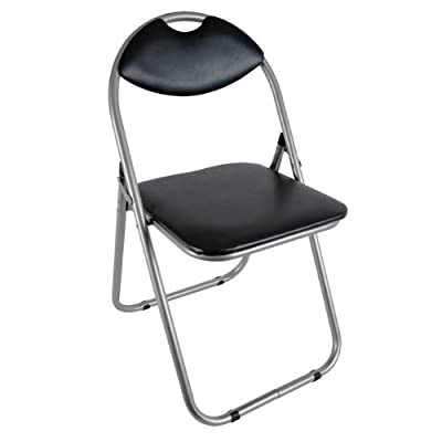 Faux Leather Plus Steel Paris Fold Up Chair, 43.5 x 46 x 79.5 cm, Black produced - quick delivery from UK.