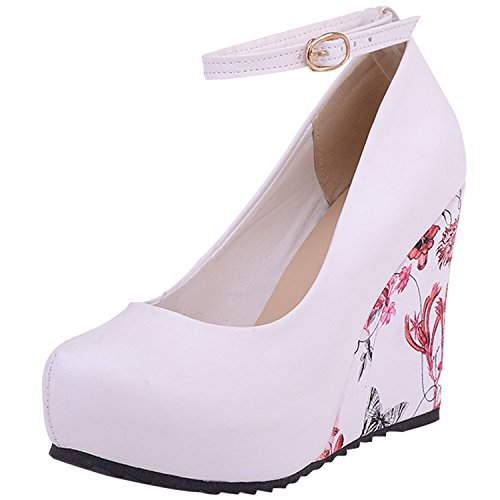 Oasap Women's Ankle Strap Wedge Heels Floral Pumps White