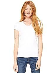 T-shirt Bella tricot à côtes manche courte col en V femme
