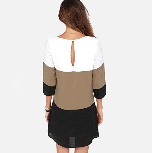 Las mujeres de manga larga de costura de la gasa de la camisa ocasional del mini vestido flojo Noir